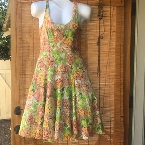 Tracy Reese NY floral flare lace sundress garden